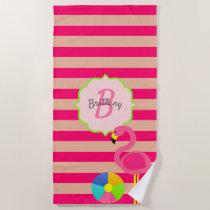 Pink Stripe Flamingo Monogrammed Beach Towel