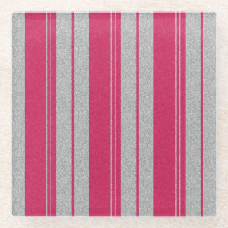 Pink Stripe Glass Coaster