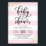 "Pink Stripe Glitter Dots Baby Shower Invitation<br><div class=""desc"">The stylish baby shower invitation features a sprinkling of faux gold glitter confetti and a modern calligraphy font.</div>"
