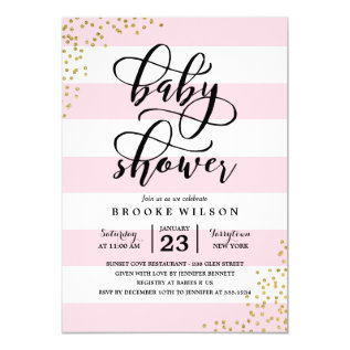 Pink Stripe Glitter Dots Baby Shower Invitation at Zazzle