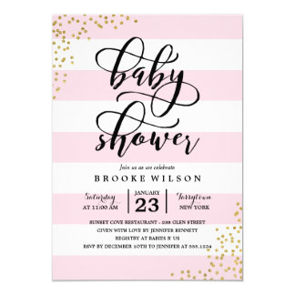 Great Pink Stripe Glitter Dots Baby Shower Invitation