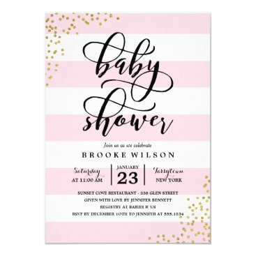 NBpaperco Pink Stripe Glitter Dots Baby Shower Invitation