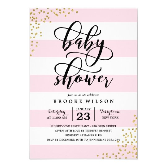 Pink Stripe Glitter Dots Baby Shower Invitation Zazzle Com