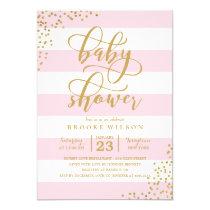 Pink Stripe Glitter Dots Baby Shower Invitation