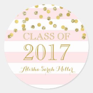 Pink Stripe Gold Confetti Graduation Class of 2017 Classic Round Sticker
