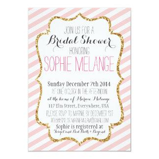 Pink Stripe, Gold Glitter Bridal Shower Invitation