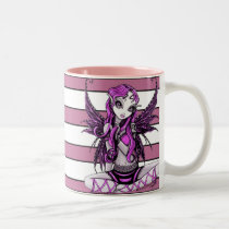 myka, jelina, pink, stripes, fairy, lacey, faeries, fairies, fae, gothic, adorable, art, Mug with custom graphic design