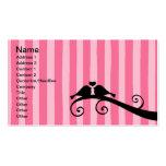 Pink Stripe Love Birds Business Cards