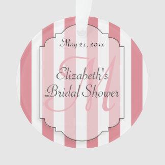 Pink Stripe Monogram Initial Personalized Ornament
