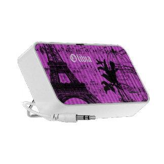 Pink Stripe Musical Vintage Bird Cage Eiffel Tower Laptop Speakers