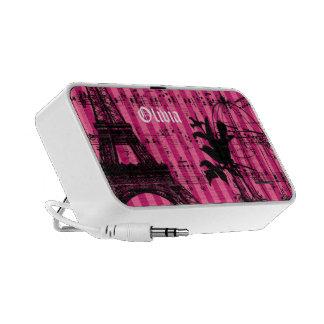 Pink Stripe Musical Vintage Bird Cage Eiffel Tower Speaker System
