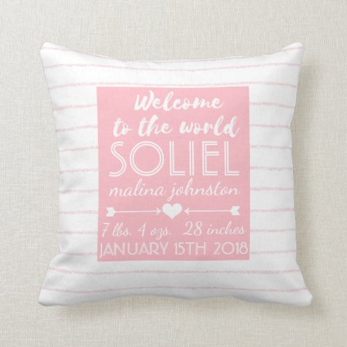 Pink Stripe Nursery Welcome to the World Baby Throw Pillow
