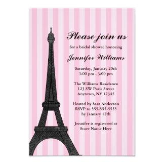 Pink Stripe Paris Bridal Shower Invitation
