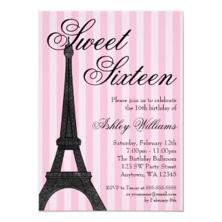 Pink Stripe Paris Themed Sweet 16 Birthday 4.5x6.25 Paper Invitation Card