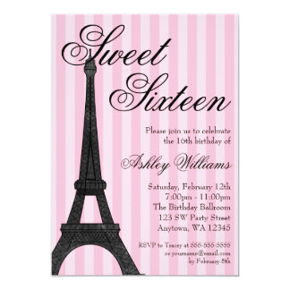 Pink Stripe Paris Themed Sweet 16 Birthday 5x7 Paper Invitation Card