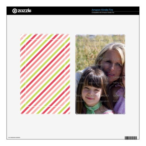 Pink Stripe Pattern Custom Photo Kindle Fire Skins