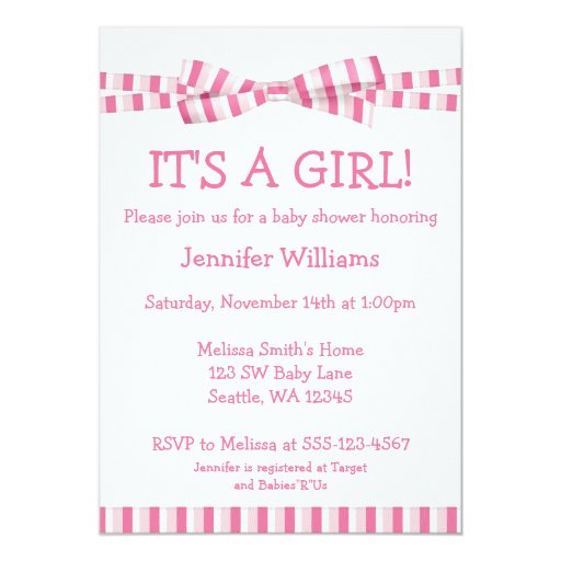 "Pink Stripe Ribbon Bow Baby Girl Shower Invitation 5"" X 7"" Invitation Card"
