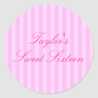 Pink Stripe Sweet16 Sticker