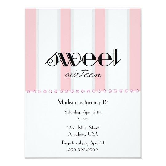 Pink Stripe Sweet 16 Invitation