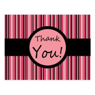 Pink Stripe Thank You Postcard