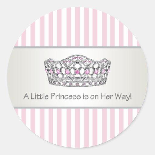 Pink Stripe Tiara Princess Envelope Seal Label Sticker