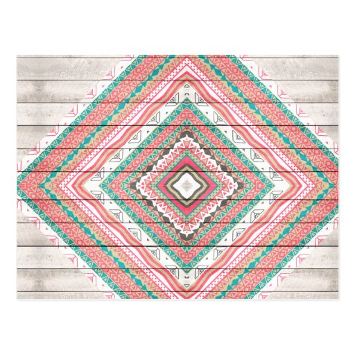 Pink Striped Aztec Coral Teal Chevron Wood Pattern Post Card
