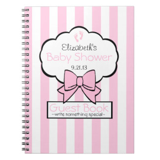 Pink Striped Baby Shower Guest Book- Spiral Note Book