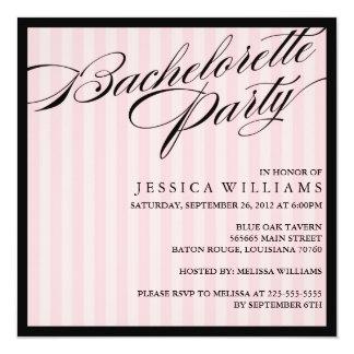 Pink Striped Bachelorette Party Custom Invitations
