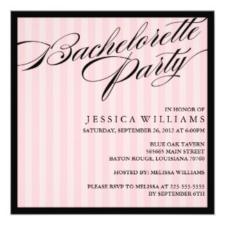Pink Striped Bachelorette Party Custom Invitations