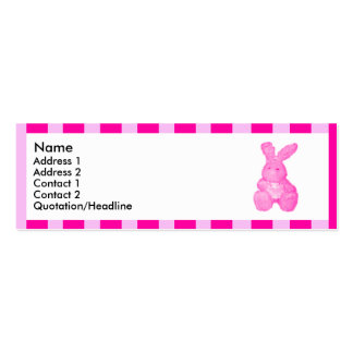 Pink striped bunny | Double-Sided mini business cards (Pack of 20)
