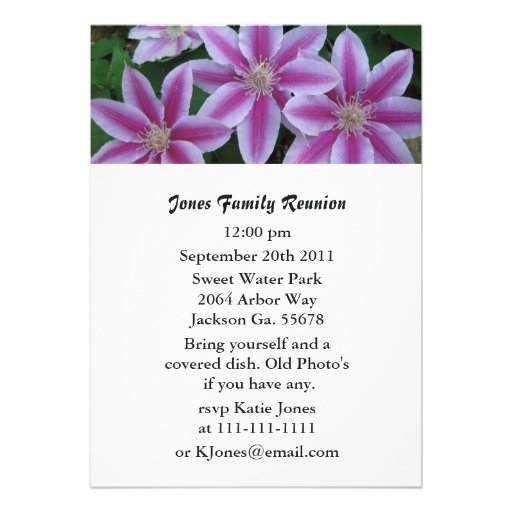 Pink Striped Clemanits Party Invitations