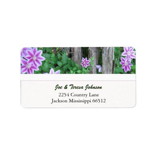 Pink Striped Clemantis Address Labels