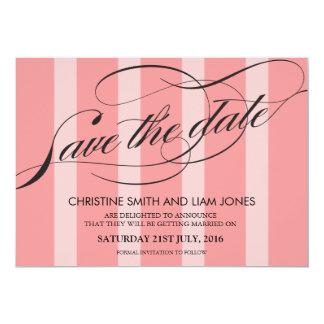 Pink Striped Flourish Swirl Save The Date Card