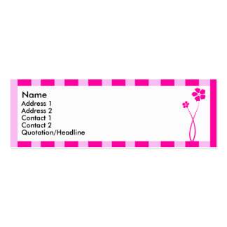 Pink striped flower 6 | Double-Sided mini business cards (Pack of 20)