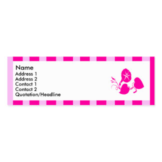 Pink striped flowers | Double-Sided mini business cards (Pack of 20)