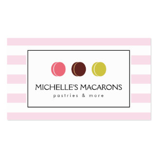 Pink Striped French Macaron Trio Logo for Bakery Double-Sided Standard Business Cards (Pack Of 100)