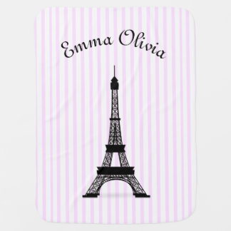 Pink Striped French Theme Eiffel Tower Personalize Stroller Blanket