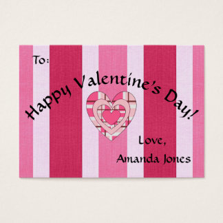 Pink Striped Heart Valentine Business Card Size