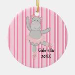 Pink Striped Hippo Ballerina Christmas Ornament