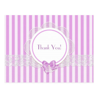 Pink Striped Lace Thank You Postcard