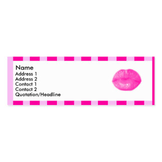 Pink striped lips | Double-Sided mini business cards (Pack of 20)