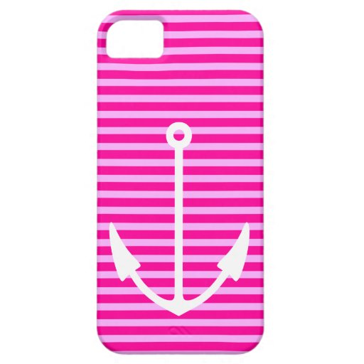 Pink Striped Nautical Anchor - iPhone 5 Case