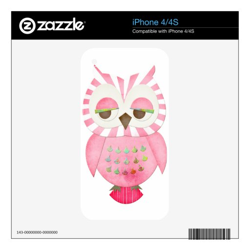 Pink Striped Owl iPhone 4S Skin