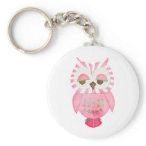 Pink Striped Owl Keychain