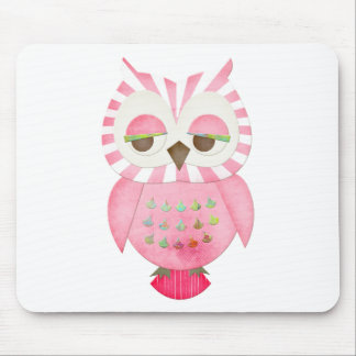 Pink Striped Owl Mouse Pad