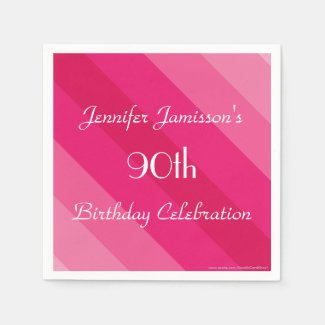 Pink Striped Paper Napkins, 90th Birthday Party Napkin