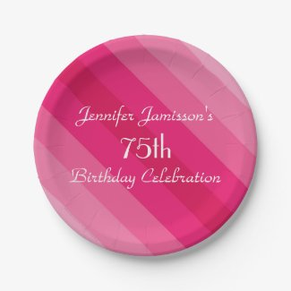 Pink Striped Paper Plates, 75th Birthday Party Paper Plate