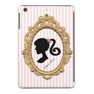 Pink Striped Paris Girl Silhouett iPad Mini Retina Cover