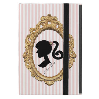 Pink Striped Paris Girl Silhouette Cases For iPad Mini