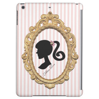 Pink Striped Paris Girl Silhouette Cover For iPad Air